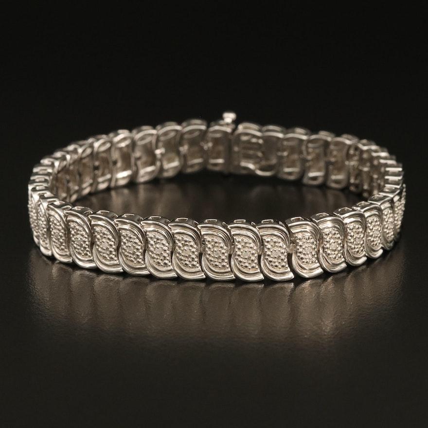 Sterling Diamond Wave Link Bracelet