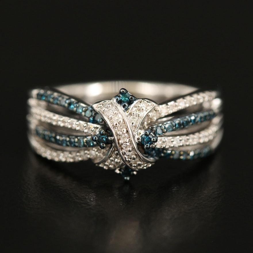 Sterling Diamond Crossover Openwork Ring