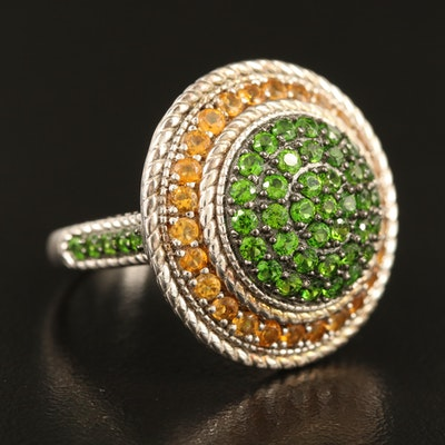 Sterling Diopside and Citrine Ring