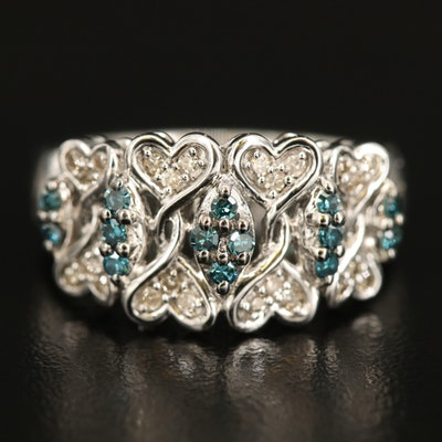 Sterling Diamond Double Heart Ring