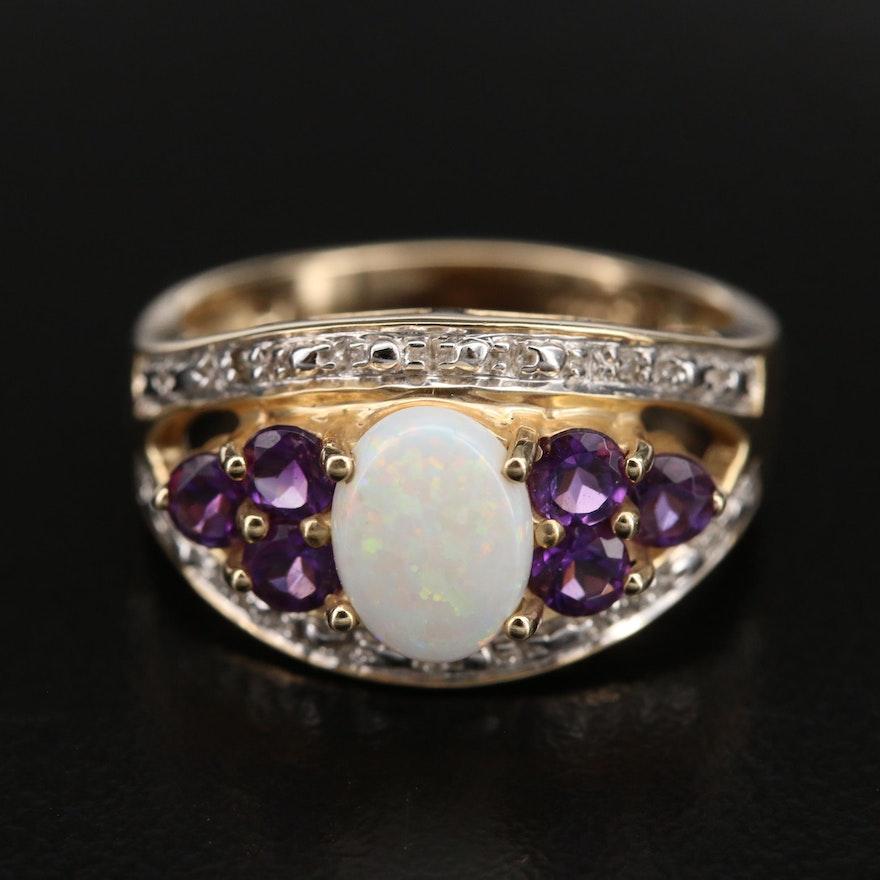 14K Opal, Amethyst and Diamond Ring
