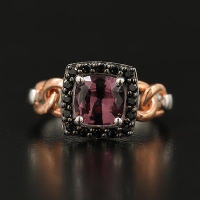 Sterling Spinel Ring with Curb Link Shoulders