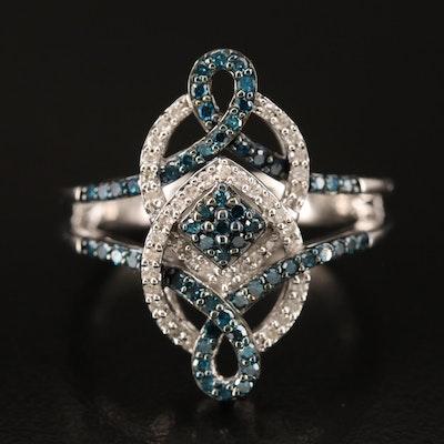 Sterling Diamond Interwoven Pointer Ring