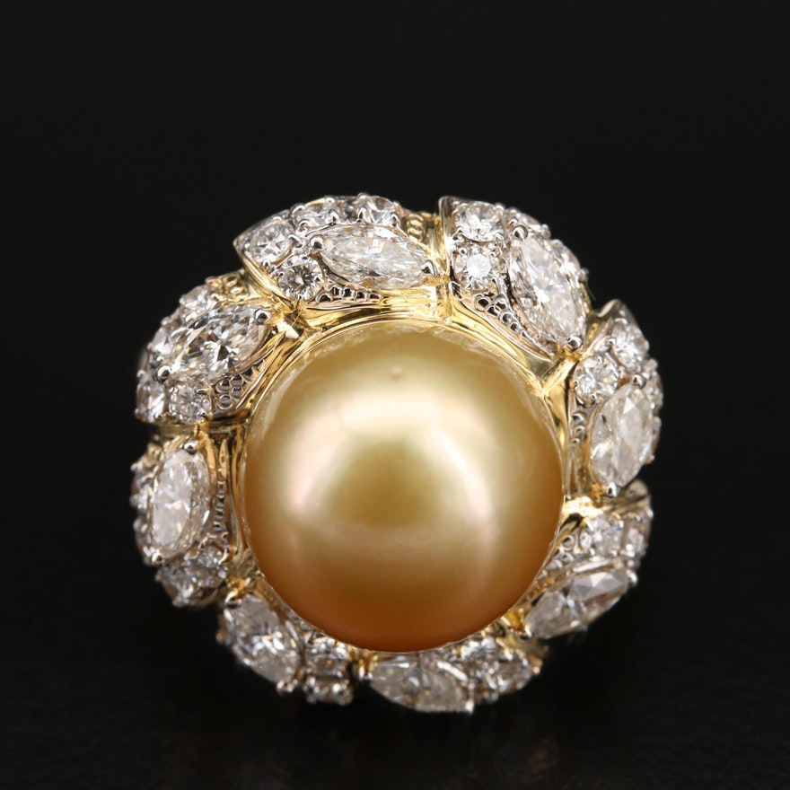 18K Pearl and 1.48 CTW Diamond Ring
