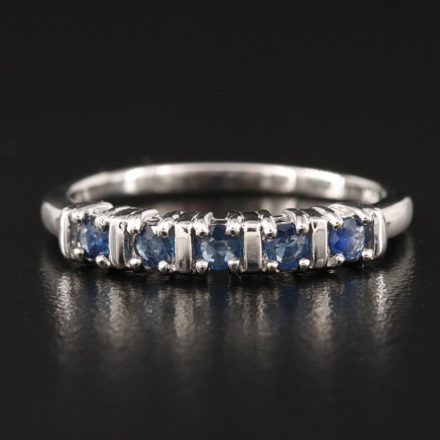 Sterling Silver Five Stone Sapphire Band
