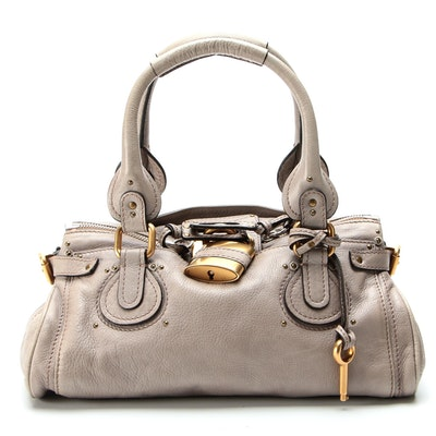 Chloé Paddington Medium Satchel in Gray Grained Leather