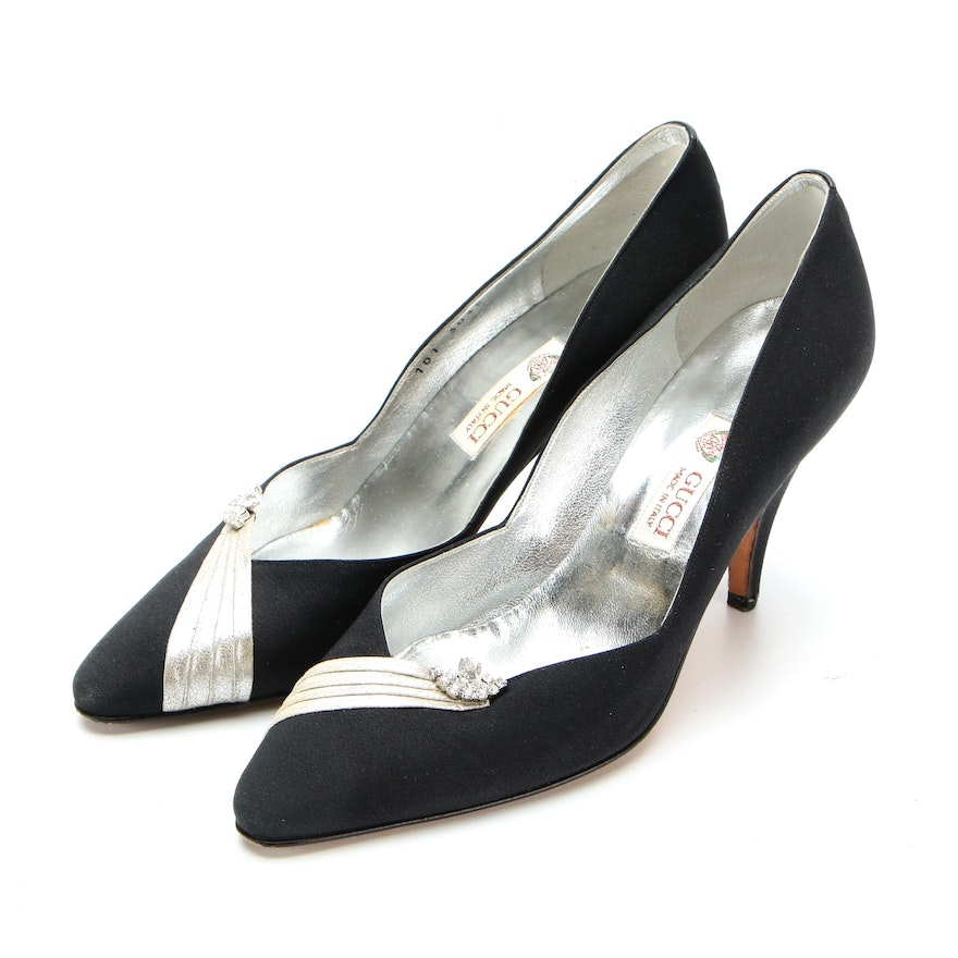 Gucci Pumps in Black Fabric with Silver Leather and Rhinestone Embellishment