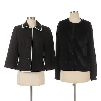 Les Copains Blue Faux Fur Accented Cardigan with Anne Taylor Button-Front Jacket