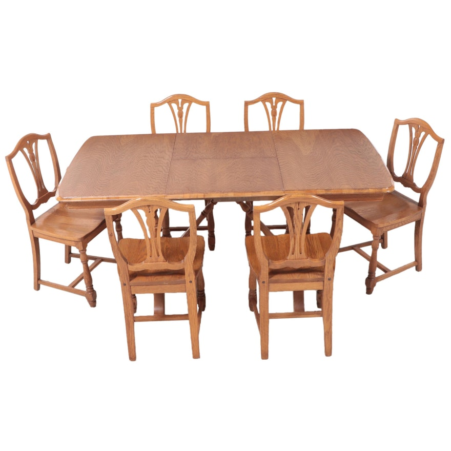 "Seven-Piece Marietta Chair Co. ""Oakwood Manor"" Dining Set"