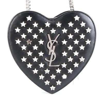 Saint Laurent Rhinestone Star-Studded Crossbody Chain Bag in Black Leather