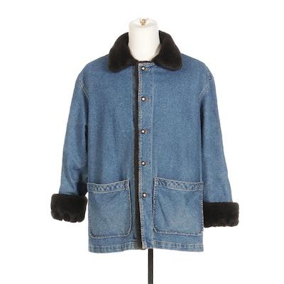 Reversible Denim and Faux Fur Button-Front Jacket