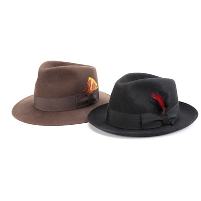 Men's Fur and Wool Felt Fedoras with Feather-Grosgrain by Selentino and Other