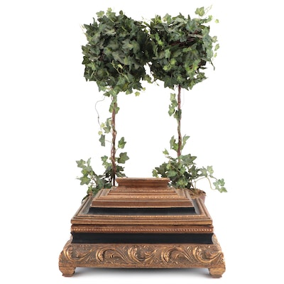 Decorative Box with Faux Topiary Plants