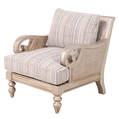 Contemporary Giltwood, Caned, and Custom-Upholstered Easy Armchair