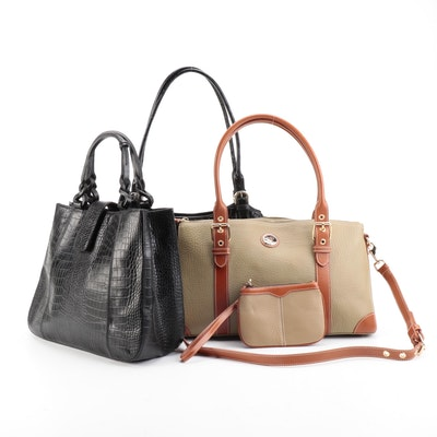 Dooney & Bourke Satchel in Pebbled Leather, Medallion Tote in Leather and Other