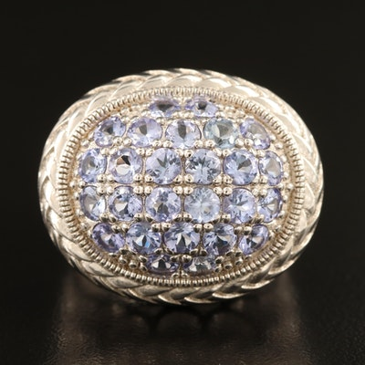 Sterling Tanzanite Ring with Scalloped Openwork Shoulders