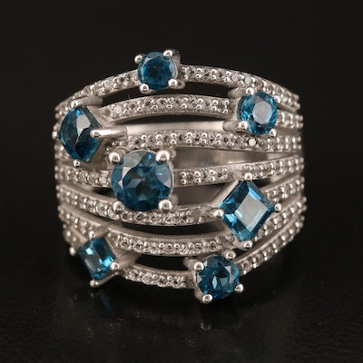Sterling London Blue and White Topaz Multi-Row Ring