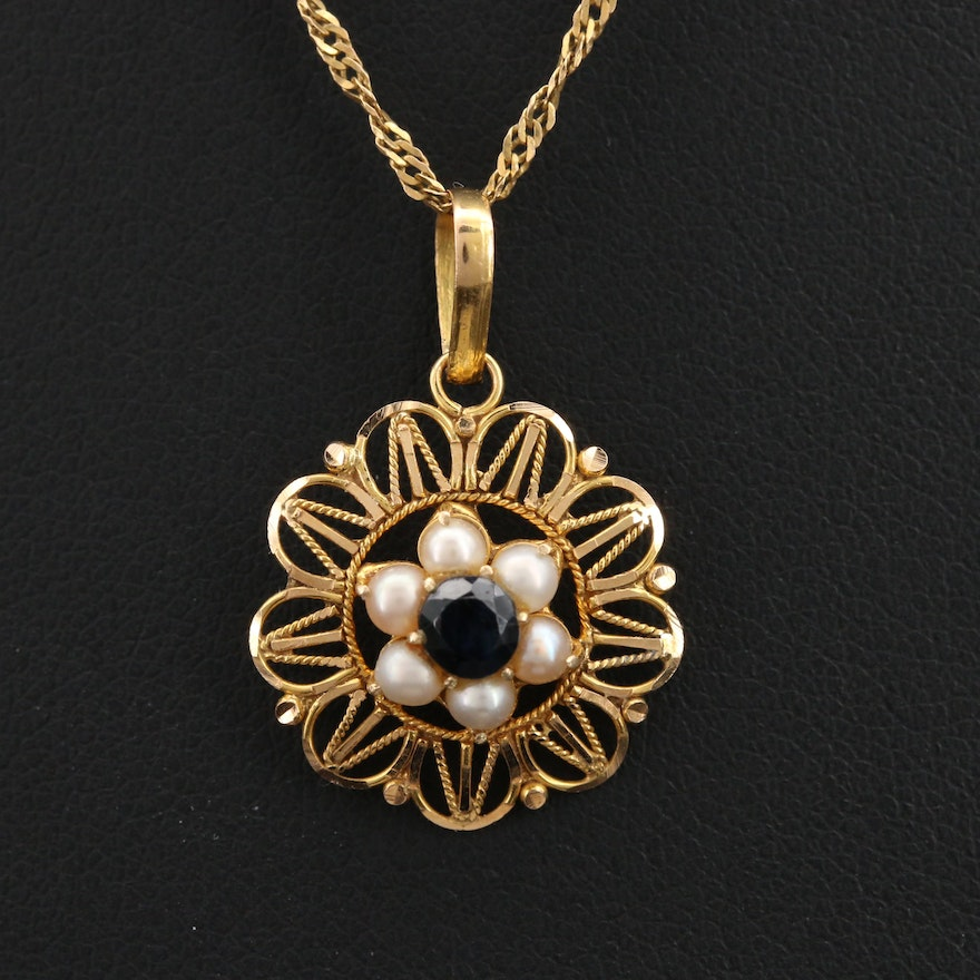 14K Sapphire and Pearl Floral Wirework Pendant on 18K Singapore Chain