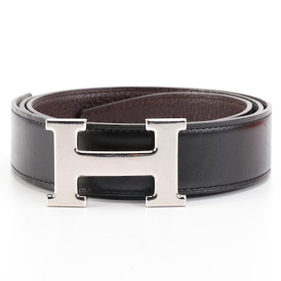 Hermès Constance Reversible Belt in Box Calf and Clemence Leather with Box