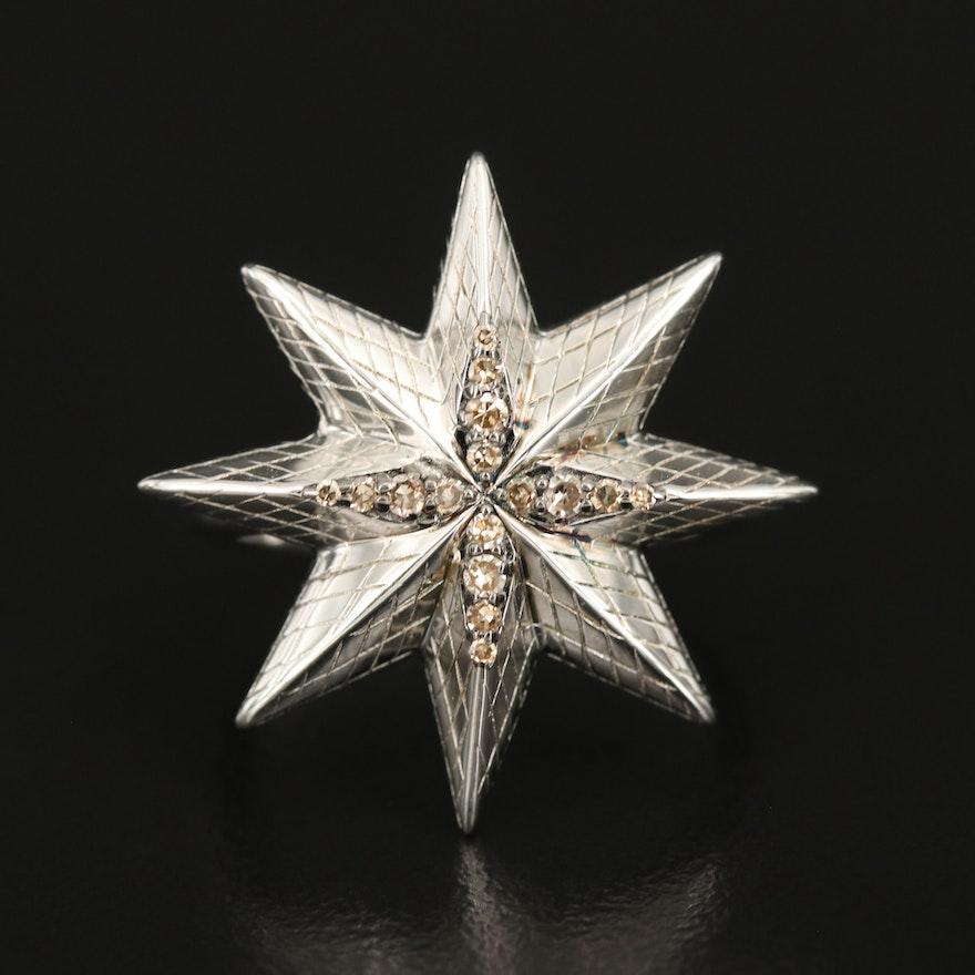 Sterling Diamond Star Ring