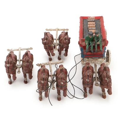 Cast Iron Horse Drawn Wagon with Drivers and Barrels, Mid-20th Century
