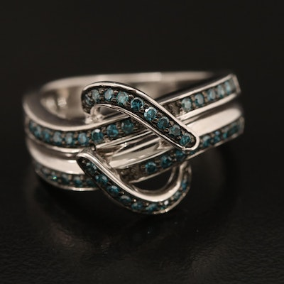 Sterling Blue Diamond Crossover Band