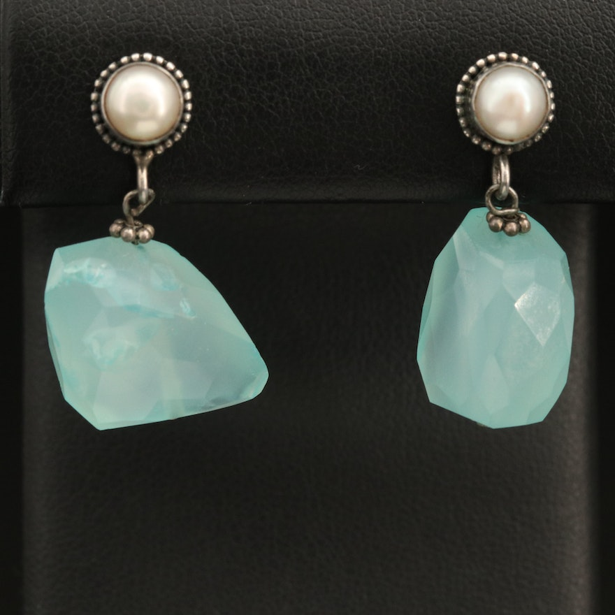Sterling Chalcedony and Pearl Drop Earrings