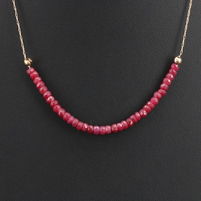 14K Ruby Faceted Bead Necklace