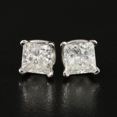 Platinum 2.08 CTW Diamond Stud Earrings with GIA Reports