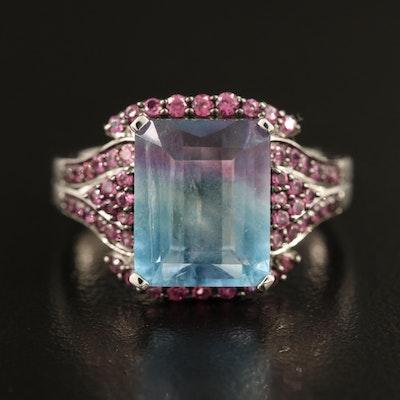 Sterling Fluorite and Rhodolite Garnet Ring