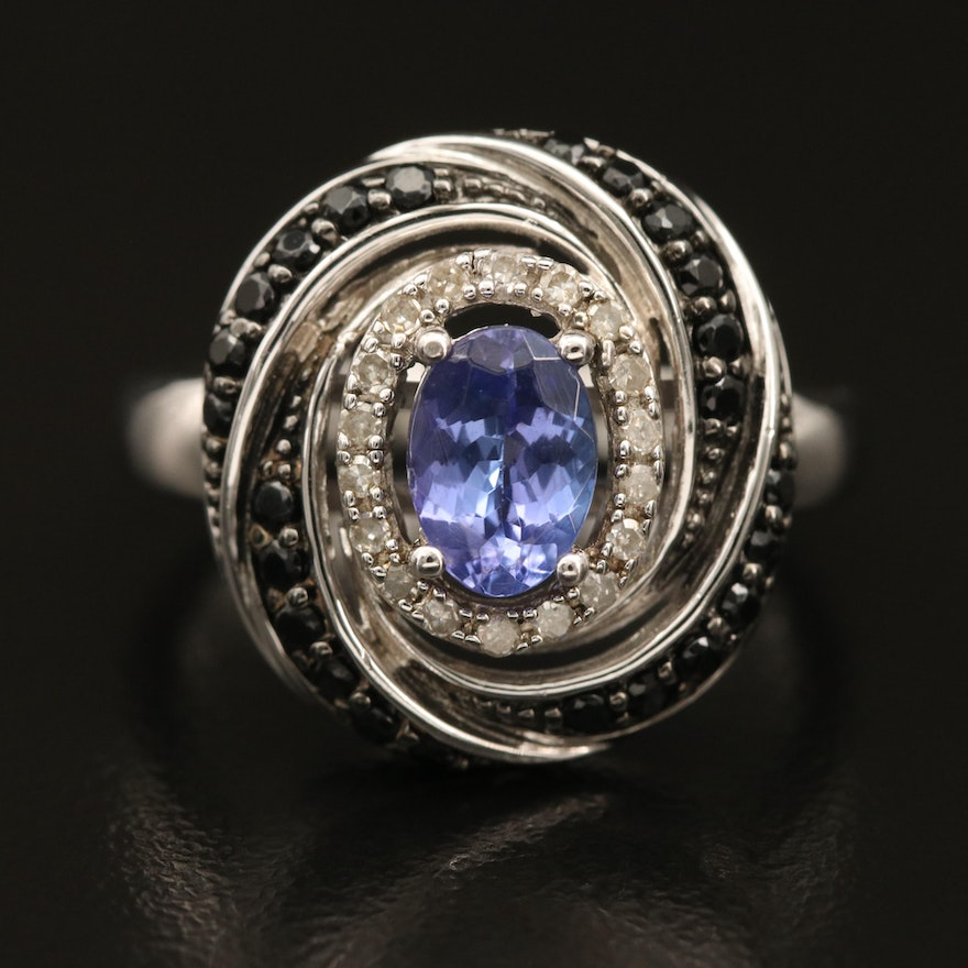 Sterling Tanzanite, Diamond and Spinel Spiral Ring