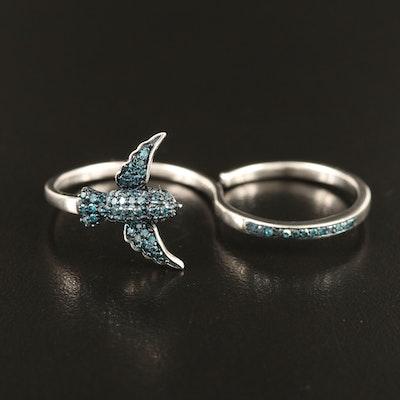 Sterling Diamond Bird Double Finger Ring