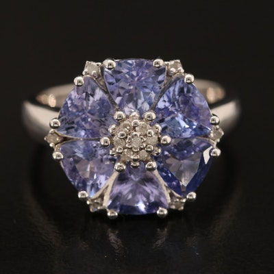 Sterling Tanzanite and Diamond Flower Ring