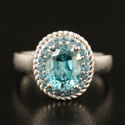 Sterling Zircon and Topaz Halo Ring
