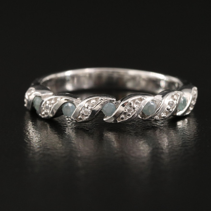 Sterling White Zircon and Alexandrite Braided Illusion Set Band