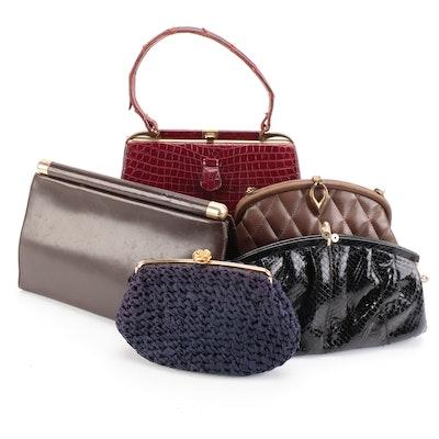 Donna Karan Leather Clutch, Susan Gail Snakeskin, Lesca Alligator Bag and More