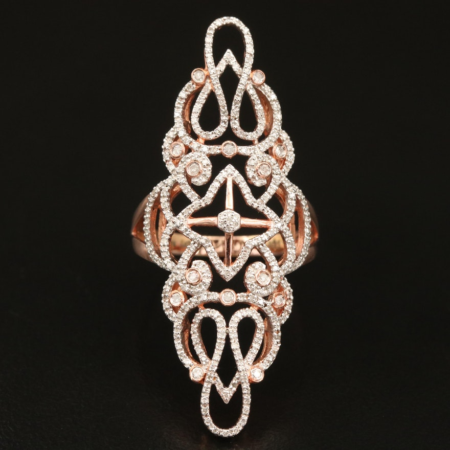 Eva LaRue Sterling Diamond Openwork Pointer Ring