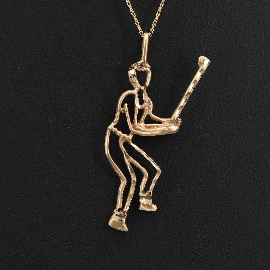 14K Golfer Pendant Necklace