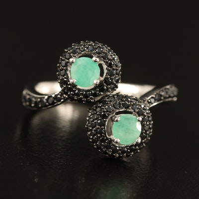 Sterling Emerald and Spinel Ring