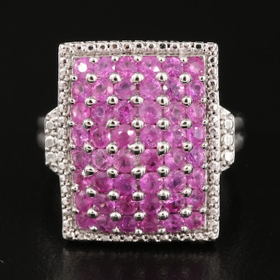 Sterling Silver Pavé Pink Sapphire Ring