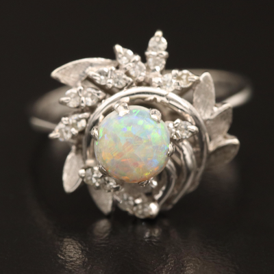 14K and 18K Diamond and Opal Foliate Swirl Ring