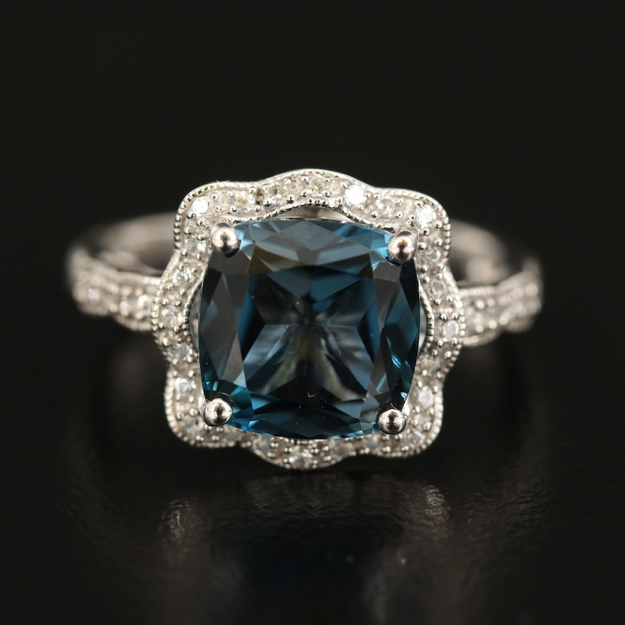 Sterling London Blue Topaz and Sapphire Halo Ring with Milgrain Detail