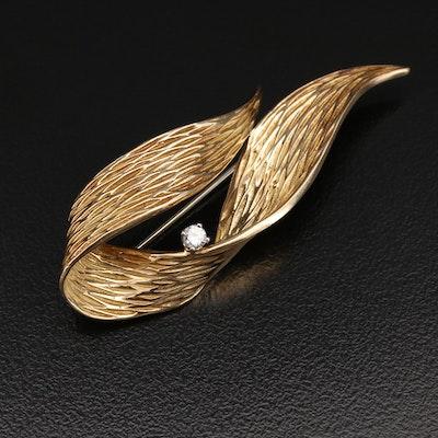 Circa 1950 Dan Frere 14K 0.09 CT Diamond Ribbon Brooch