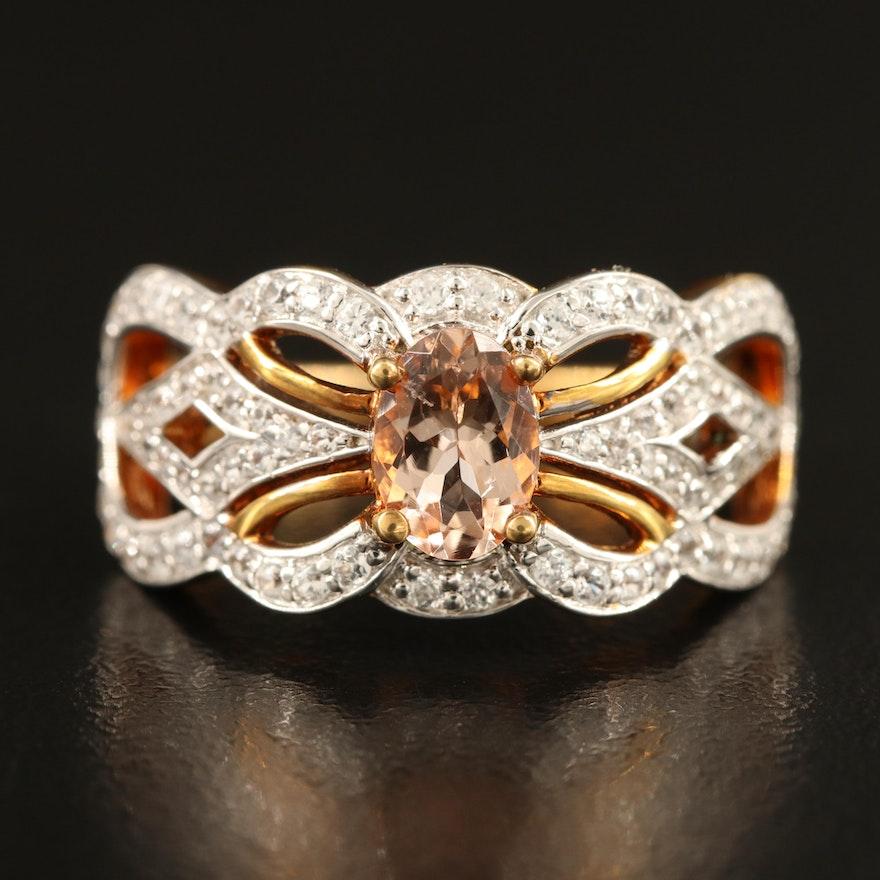Sterling Morganite and Diamond Openwork Ring