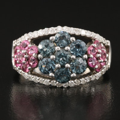 Sterling Spinel, Pink Sapphire and Diamond Openwork Floral Ring