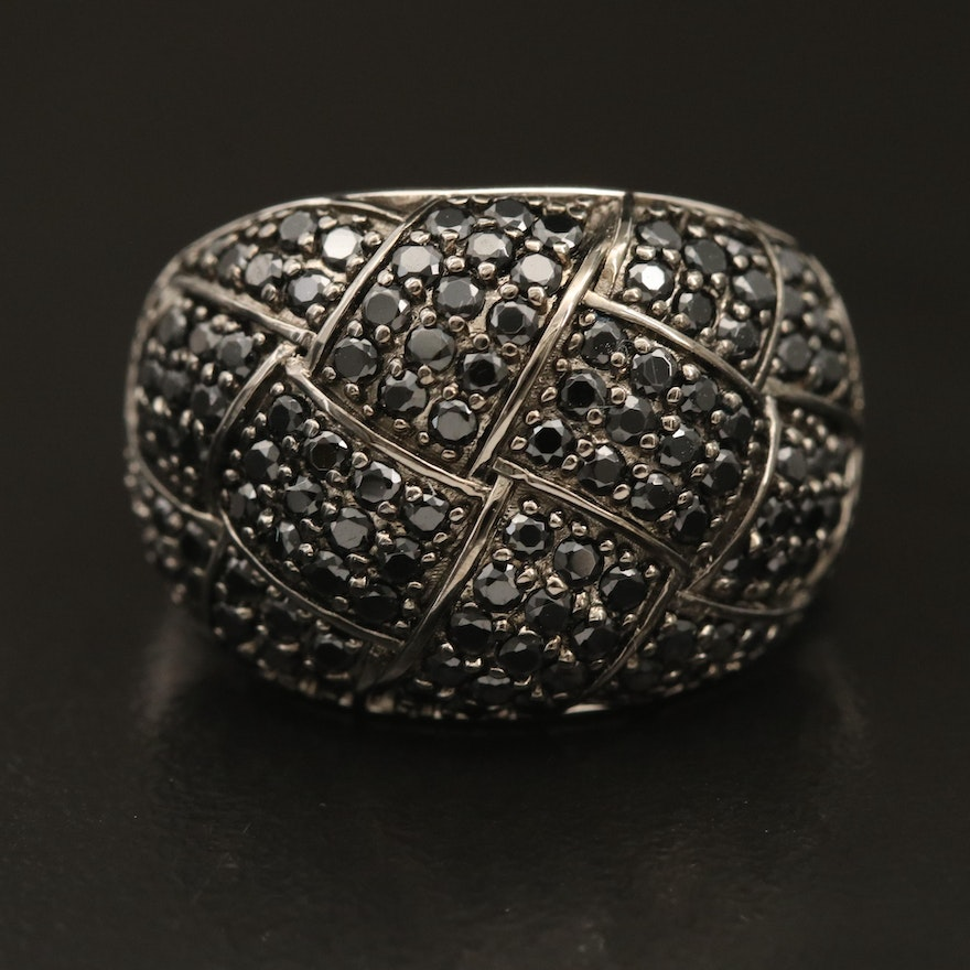 Sterling Pavé Spinel Woven Motif Ring