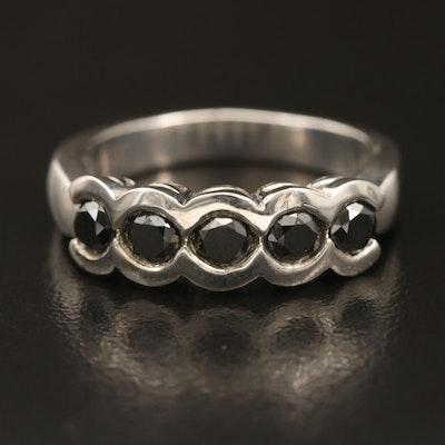Sterling Fancy Black Diamond Five Stone Ring