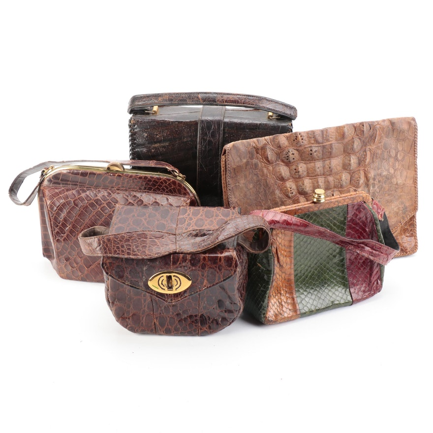 Dietsch Alligator Skin Frame Bag with Other Alligator, Caiman and Snakeskin Bags