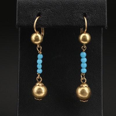 Italian 18K Beaded Earrings with Glass