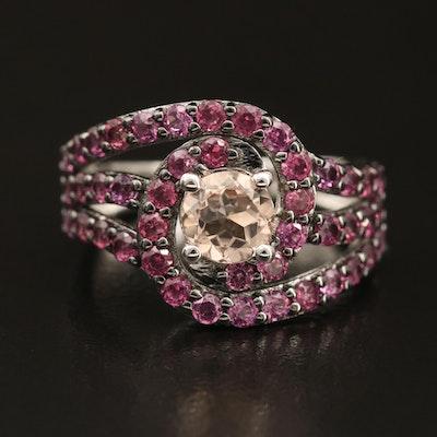 Sterling Morganite and Rhodolite Garnet Spiral Ring